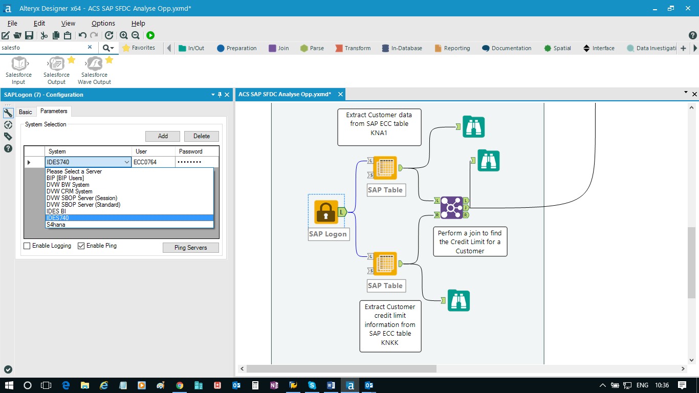 Blending Salesforce com data with SAP data using Alteryx and